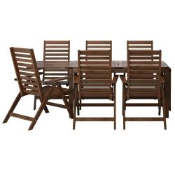 ÄPPLARÖ Mesa+6 sillas reclinables, ext