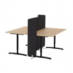 BEKANT Combinación escritorio oficina 2 puestos con separador roble/negro