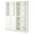 BILLY Librería con 4 puertas, blanco/Vidrio