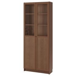 BILLY Librero con panel/puertas vidrio