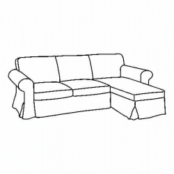 1 x EKTORP Two-seat sofa frame w chaise longue