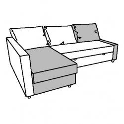 1 x FRIHETEN Módulo chaise longue gris ocuro