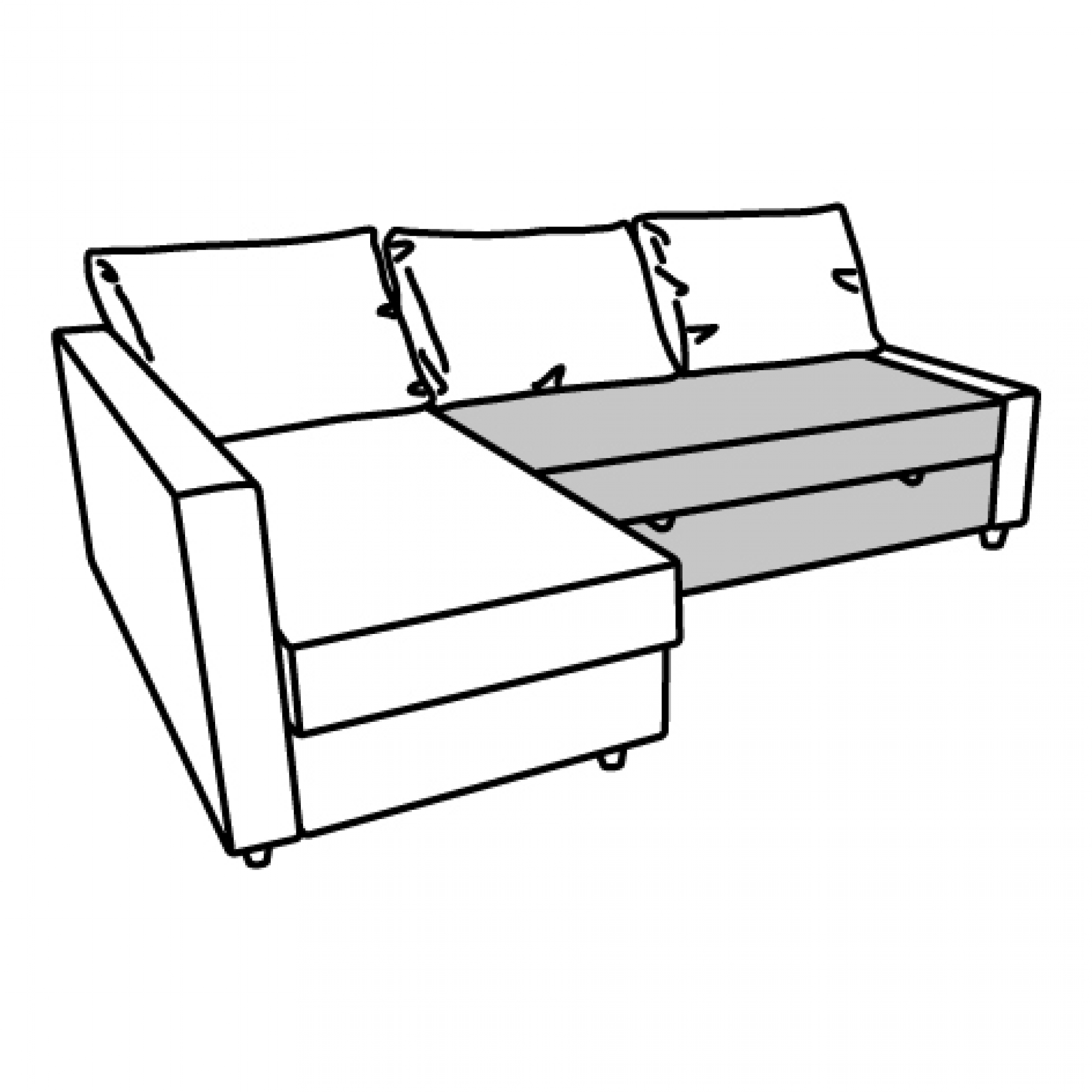 FRIHETEN seat section for corner sofa-bed brown