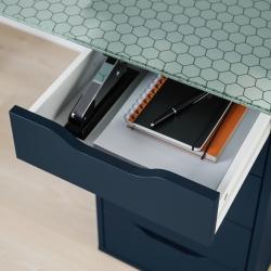 GLASHOLM/ALEX Mesa de escritorio 148x73 cm con cajoneras azules