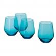 IVRIG Juego de 4 vasos de vidrio, azul, 15oz