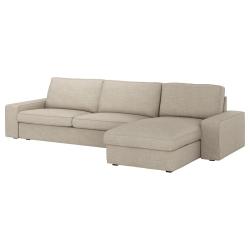 KIVIK Sofá 4 plazas con diván, HILLARED baige