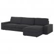 KIVIK Sofá 4 plazas con diván, HILLARED antracita