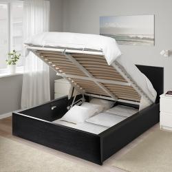MALM Cama 140, estructura con canapé abatible