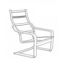 1 x POÄNG Estructura de sillónchapa roble tinte blanco