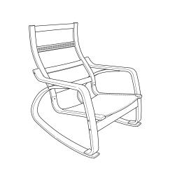 1 x POÄNG Estructura de mecedora chapa roble tinte blanco