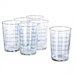 SPORADISK Juego de 6 vasos de vidrio rayas azules, 46cl