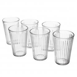 VARDAGEN Juego de 6 vasos de vidrio templado con relieve, 43cl