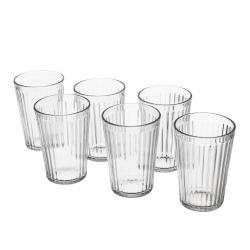VARDAGEN Juego de 6 vasos de vidrio templado con relieve, 31cl