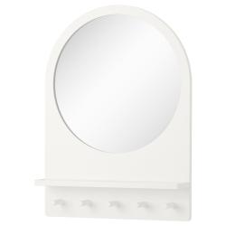 SALTRÖD Espejo con estante y ganchos, blanco