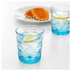 FLIMRA Juego de 6 vasos de vidrio con relieve azul, 28cl