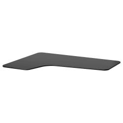 1 x BEKANT Tablero para escritorio 160x110 cm esquina izquierda negro