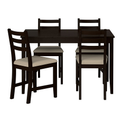 LERHAMN Mesa + 4 sillas negro-marrón/Vittaryd beige