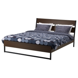 TRYSIL Queen bed frame with Lönset slatted