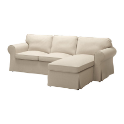 EKTORP Three-seat sofa with chaise longue, NORDVALLA dark beige
