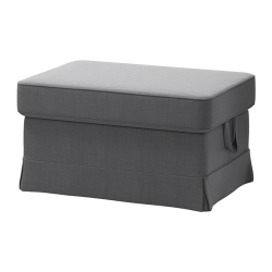 EKTORP Reposapiés con almacenaje + funda NORDVALLA gris oscuro