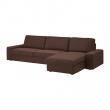 KIVIK Sofá 4 plazas con diván, BORRED marrón oscuro