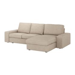 KIVIK Sofá 3 plazas con diván, HILLARED beige