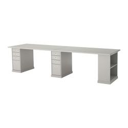 KLIMPEN Mesa de escritorio 300x75 cm con almacenaje y 2 cajoneras