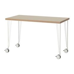 LINNMON/KRILLE Mesa de escritorio 120x60 cm con ruedas beige/blanco