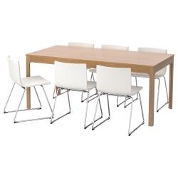 EKEDALEN/BERNHARD Mesa y 6 sillas