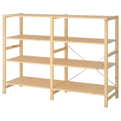 IVAR Estantería 174x50x124 cm dos secciones con ocho estantes