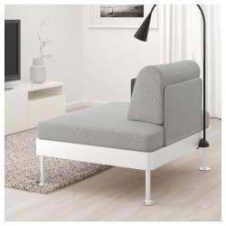 DELAKTIG Sillón con mesa auxiliar y lámpara en gris desenfundable