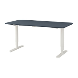 BEKANT Escritorio profesional 160x80 cm sentado/de pie azul/blanco