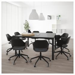 BEKANT Mesa de reuniones 140x140 cm cuadrada negro