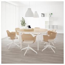 BEKANT Mesa de reuniones 140x140 cm roble/blanco