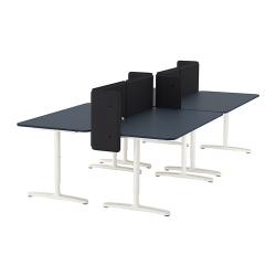 BEKANT Combinación escritorio oficina 4 puestos con separador 55 cm azul/blanco