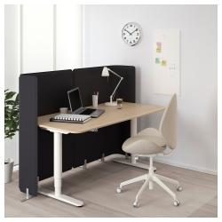 BEKANT Escritorio profesional sentado/de pie 160x80 cm con separador roble/blanco