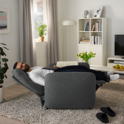 EKOLSUND Sillón relax reclinable gris oscuro desenfundable