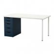 LINNMON/ALEX Mesa de escritorio 150x75 cm con 5 gavetas blanco/azul