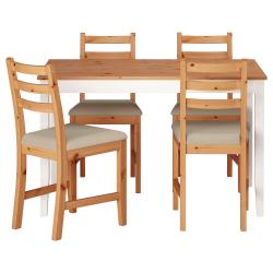 LERHAMN Mesa con 4 sillas