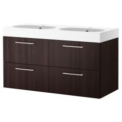 GODMORGON/BRÅVIKEN Clóset lavamanos doble con 4 cajones