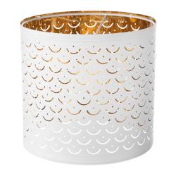 1 x NYMÖ Pantalla para lámpara blanco/bronce 24 cm