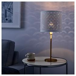 NYMÖ Pantalla para lámpara blanco/bronce 24 cm