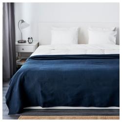 INDIRA Colcha para cama doble 230x250 cm azul oscuro