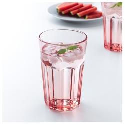 POKAL Vaso de vidrio templado con relieve rosa, 35cl
