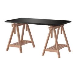 LINNMON/FINNVARD Mesa de escritorio 150x75 cm con caballete de altura regulable negro-marrón/haya