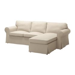EKTORP Sofá 3 plazas con diván, NORDVALLA beige oscuro