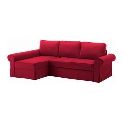 BACKABRO Sofá cama 3 plazas con diván, NORDVALLArojo