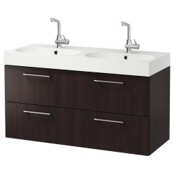 GODMORGON/BRÅVIKEN Armario para lavamanos+4 cajones
