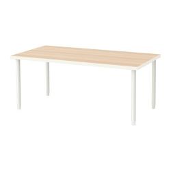 LINNMON/OLOV Mesa de escritorio 150x75 cm con patas regulables blanco efecto roble