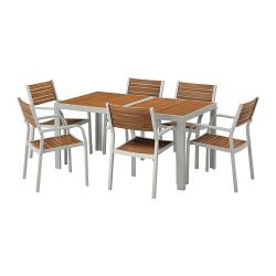 SJÄLLAND Mesa+ 6 sillas reposabrazos, exterior
